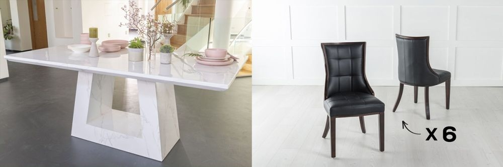 Urban Deco Milan 200cm White Marble Dining Table and 6 Paris Brown Chairs