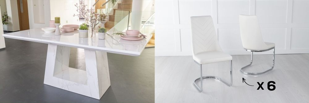 Product photograph showing Urban Deco Milan 160cm White Marble Dining Table And 6 Pheonix Cream Chairs