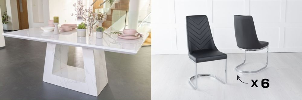 Product photograph showing Urban Deco Milan 180cm White Marble Dining Table And 6 Pheonix Black Chairs