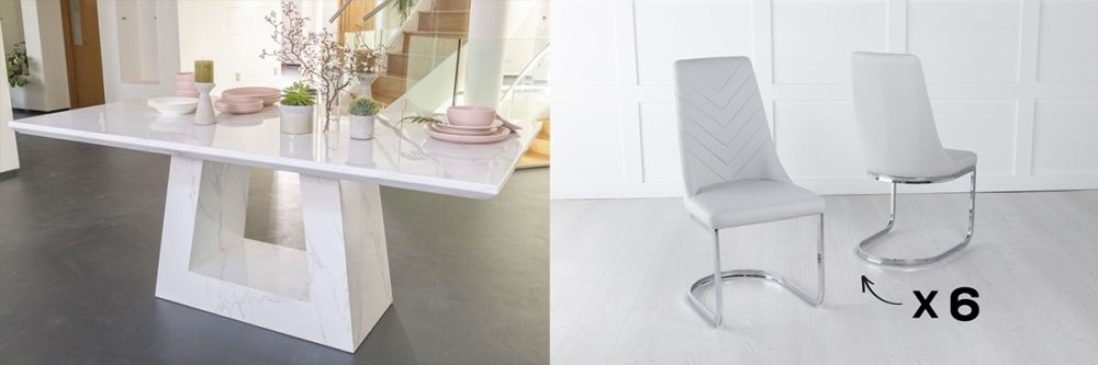 Urban Deco Milan 180cm White Marble Dining Table and 6 Pheonix Light Grey Chairs