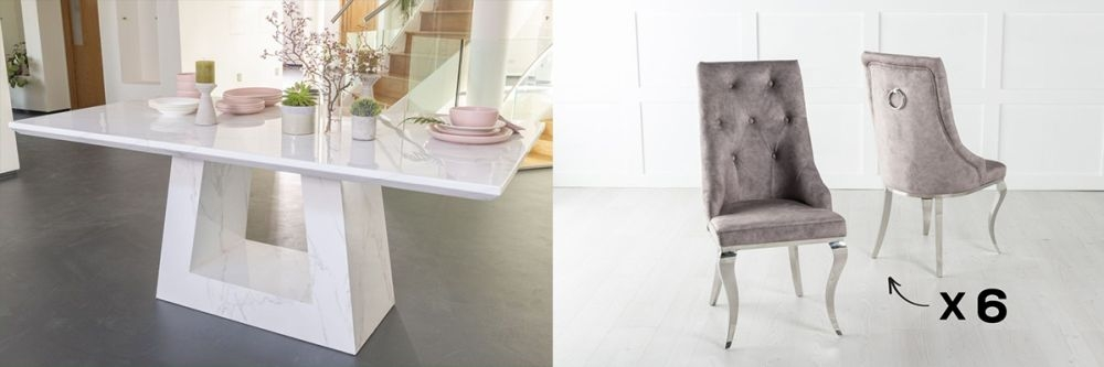 Product photograph showing Urban Deco Milan 160cm White Marble Dining Table And 6 Premiere Biege Chairs