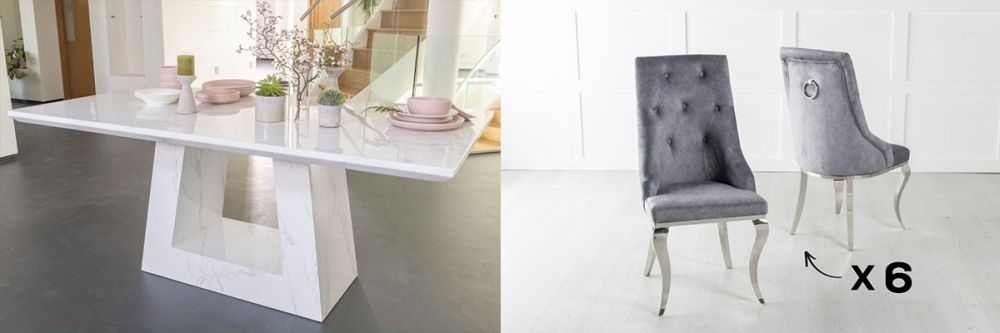 Product photograph showing Urban Deco Milan 160cm White Marble Dining Table And 6 Premiere Grey Chairs