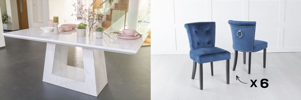 Urban Deco Milan 160cm White Marble Dining Table and 6 Sandringham Blue Chairs