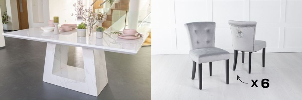 Urban Deco Milan 180cm White Marble Dining Table and 6 Sandringham Light Grey Chairs