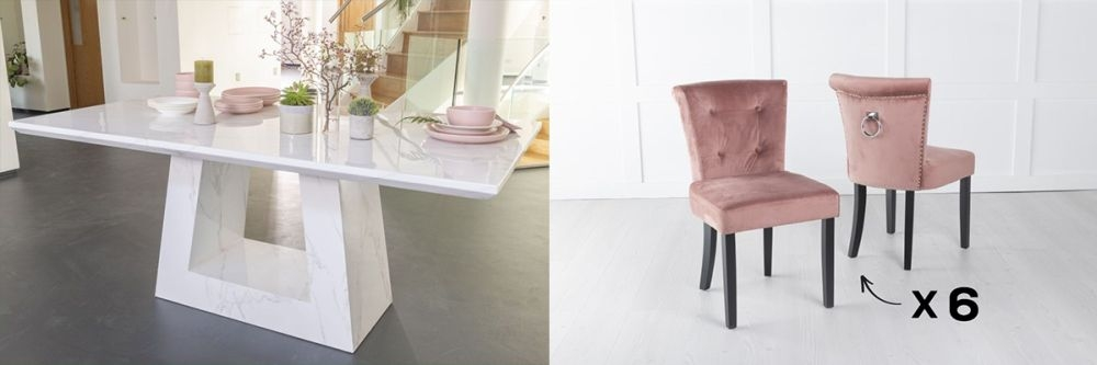 Product photograph showing Urban Deco Milan 200cm White Marble Dining Table And 6 Sandringham Pink Chairs