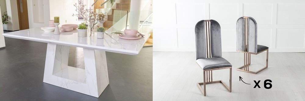 Urban Deco Milan 180cm White Marble Dining Table and 6 Troy Grey Chairs