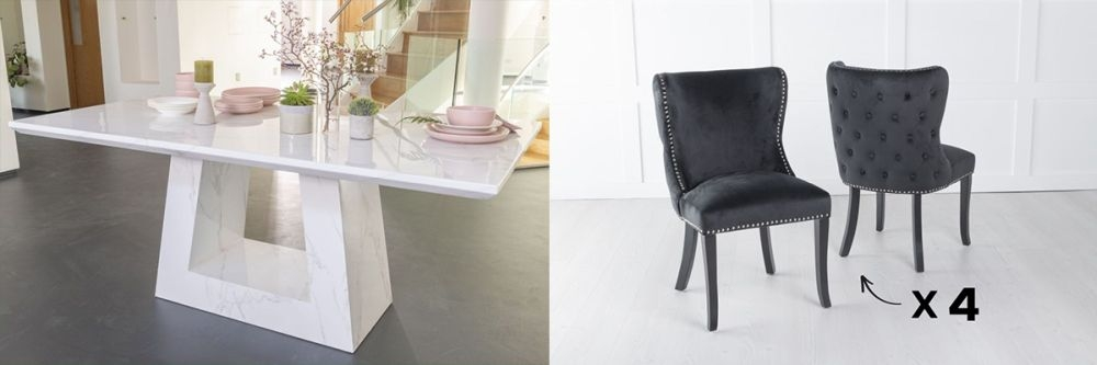 Urban Deco Milan 160cm White Marble Dining Table and 6 Vera Black Chairs