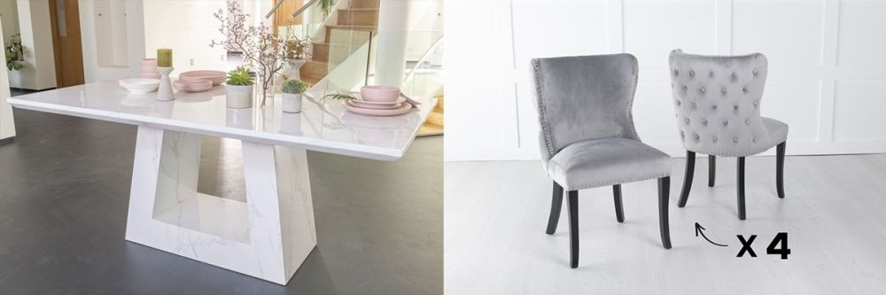Urban Deco Milan 180cm White Marble Dining Table and 6 Vera Light Grey Chairs