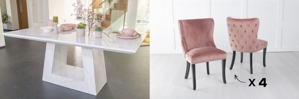 Urban Deco Milan 180cm White Marble Dining Table and 6 Vera Pink Chairs