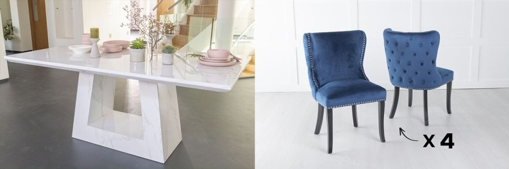 Urban Deco Milan 200cm White Marble Dining Table and 6 Vera Blue Chairs