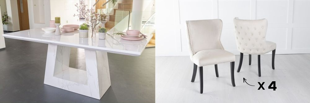 Urban Deco Milan 200cm White Marble Dining Table and 6 Vera Champagne Chairs