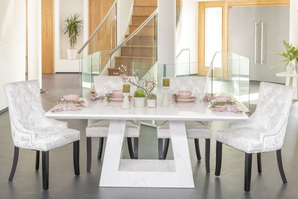 Buy Urban Deco Milan White Marble 160cm Dining Table with 4 Mink Knockerback Chairs and Get 2 Extra Chairs Worth £298 For FREE