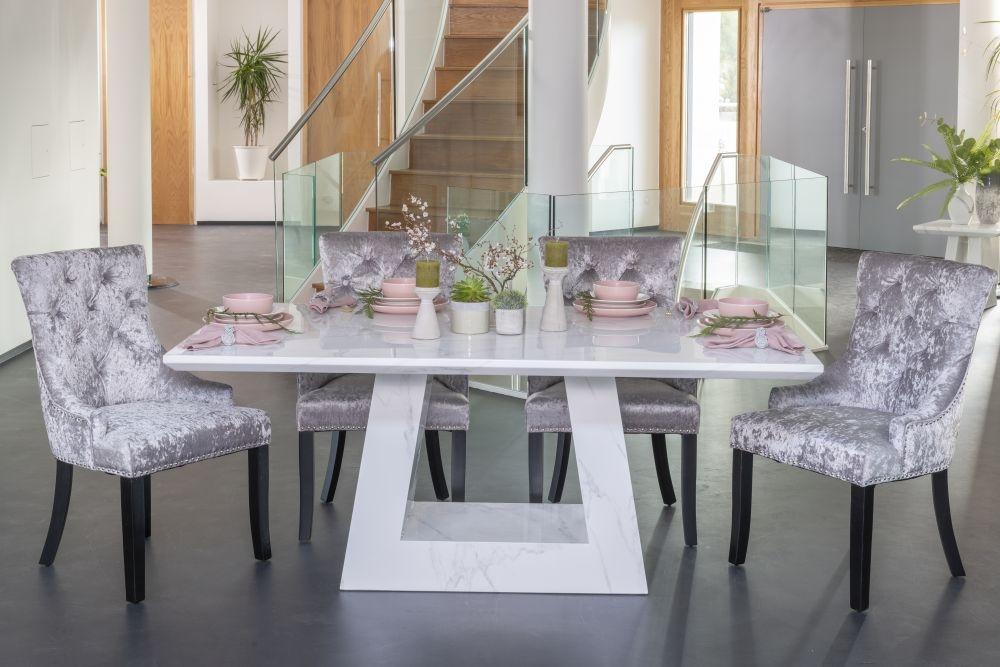 Urban Deco Milan White Marble 160cm Rectangular Dining Set with Silver Velvet Knockerback Chairs