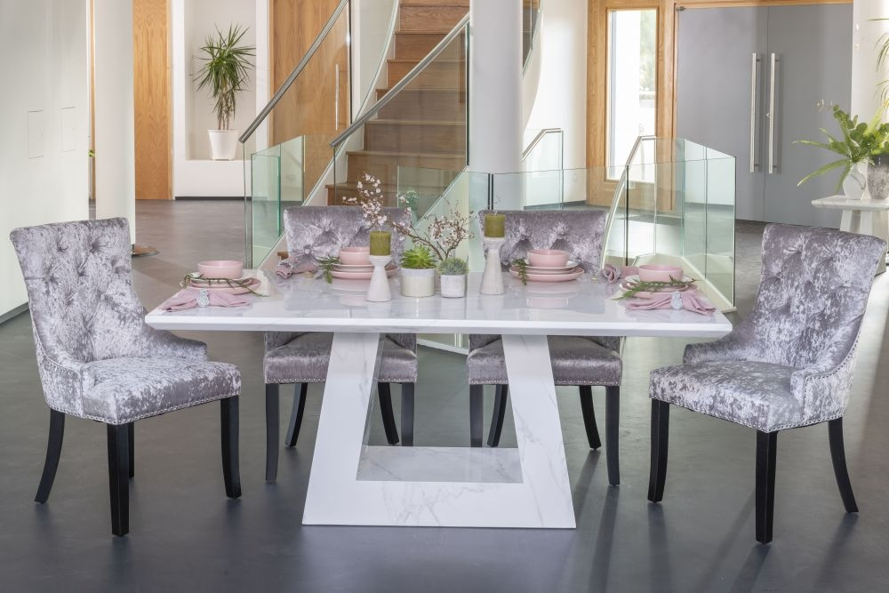 Urban Deco Milan White Marble 180cm Rectangular Dining Set with Silver Velvet Knockerback Chairs