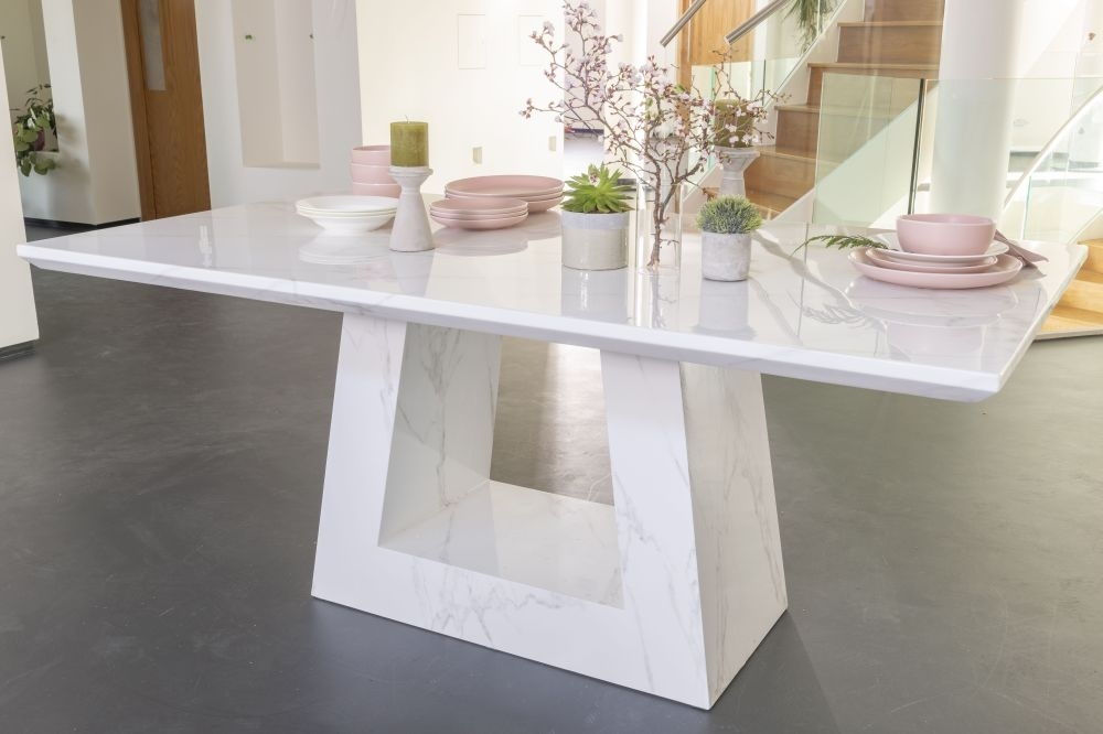 Urban Deco Milan White Marble 200cm Rectangular Dining Table