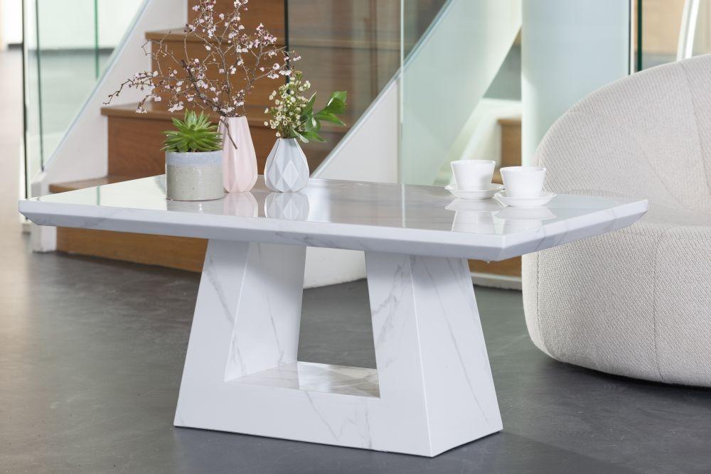 Buy Urban Deco Milan White Marble Coffee Table Online Cfs Uk