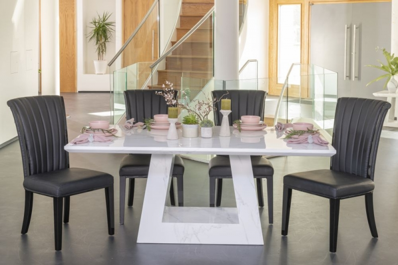 Urban Deco Milan White Marble 160cm Rectangular Dining Set with Cadiz Black Chairs