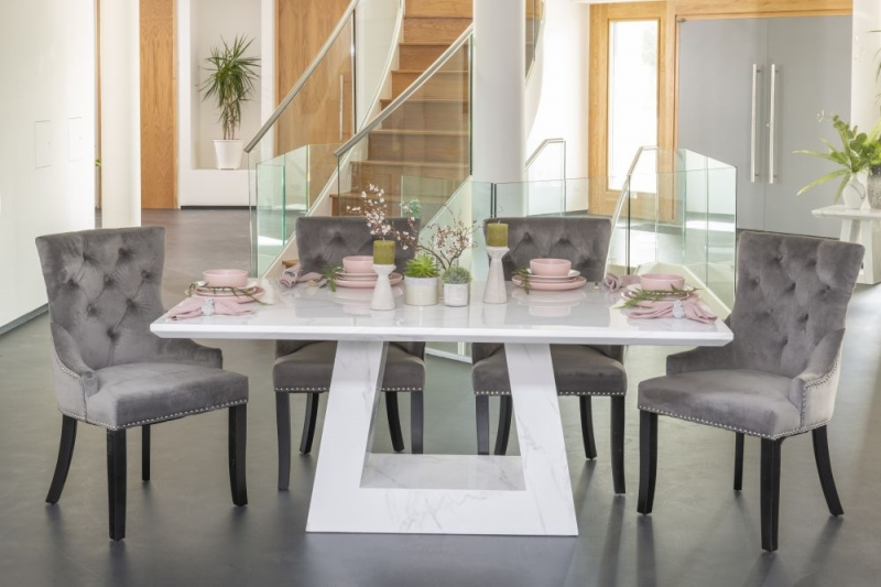 Buy Urban Deco Milan White Marble 160cm Dining Table with 4 Grey Knockerback Chairs and Get 2 Extra Chairs Worth £350 For FREE