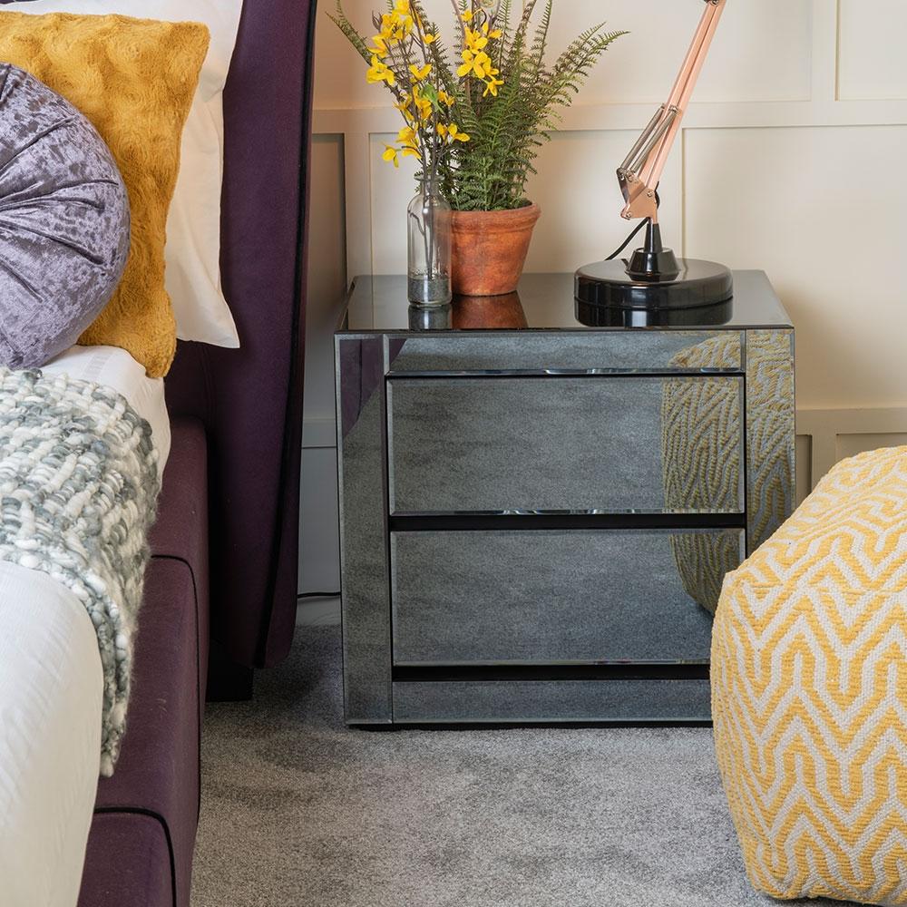 Moda Smoke Mirrored 2 Drawer Bedside Cabinet