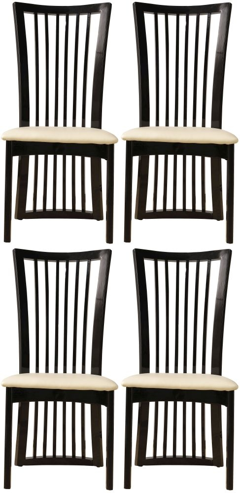 4 x Urban Deco Athena Black Slatted Dining Chair
