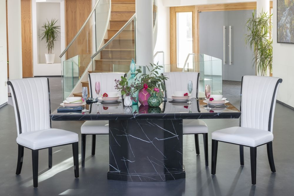 Buy Urban Deco Naples 160cm Black Marble Dining Table with 4 Cadiz White Chairs and Get 2 Extra Chairs Worth £358 For FREE