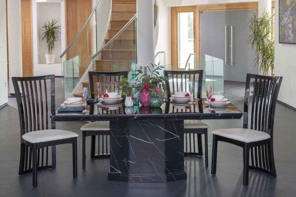 Urban Deco Naples Black Marble 180cm Rectangular Dining Set with Athena Black Chairs