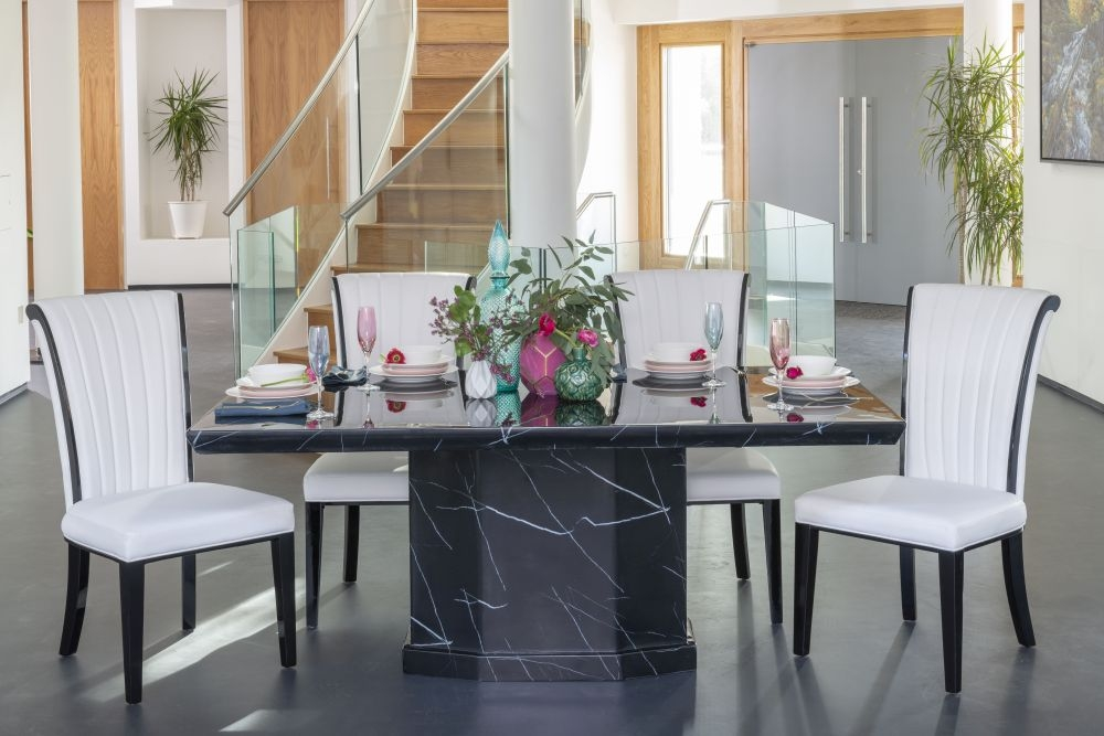 Buy Urban Deco Naples 180cm Black Marble Dining Table with 4 Cadiz White Chairs and Get 2 Extra Chairs Worth £358 For FREE