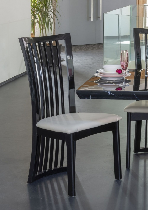 Urban Deco Athena Black High Gloss Slatted Dining Chair