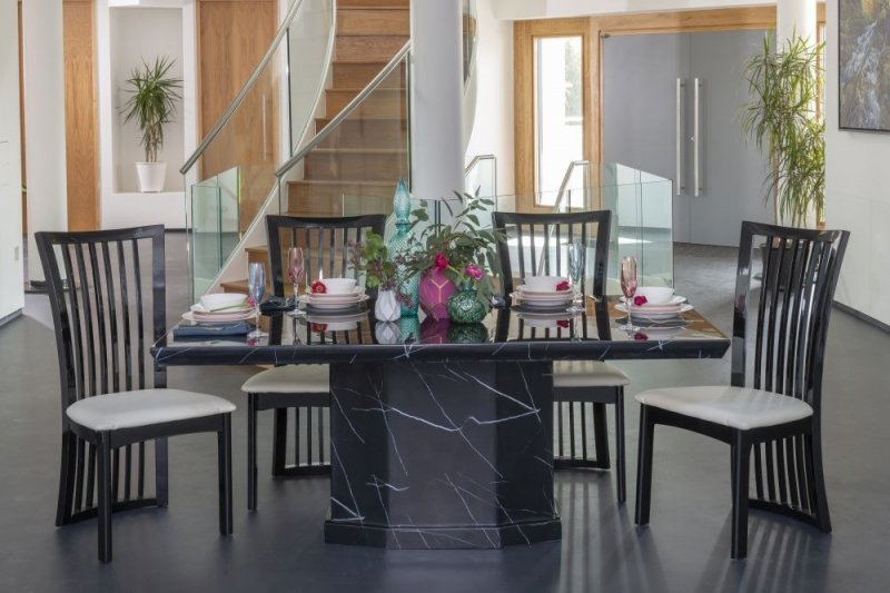 Urban Deco Naples Black Marble 160cm Rectangular Dining Set with Athena Black Chairs