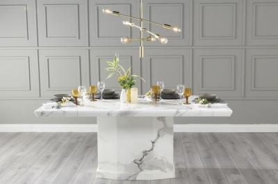 Urban Deco Naples 160cm White Marble Dining Table