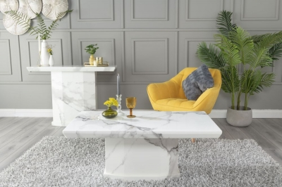 Urban Deco Naples White Marble Coffee Table
