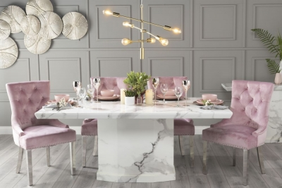 Urban Deco Naples 180cm White Marble Dining Table with 6 Pink Knockerback Chrome Leg Chairs