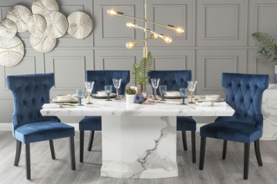 Urban Deco Naples 200cm White Marble Dining Table with 6 Courtney Blue Chairs