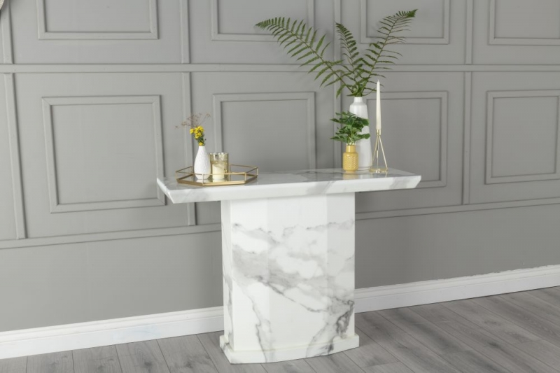 Urban Deco Naples White Marble Console Table