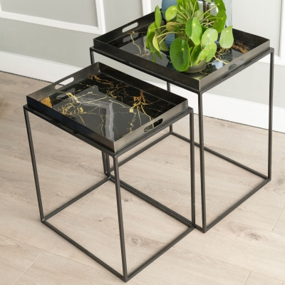 Urban Deco Amara Black Metal and Decal Marble Effect Nest of Tray Tables