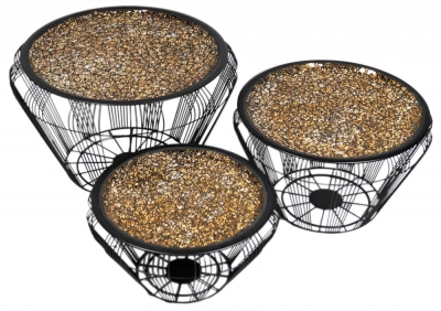 Aria Gold Mosaic Top Set of 3 Accent Tables with Black Wire Metal Base