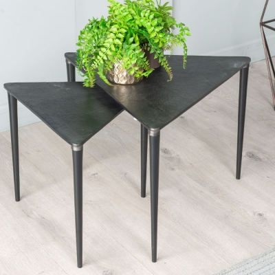 Esme Black Aluminium 2 Piece Nesting Tables - Triangular Shape