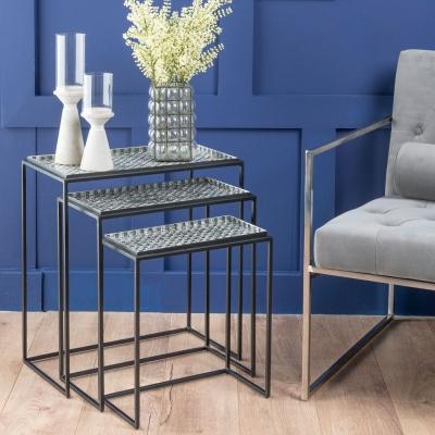 Nova Silver Mosaic Top Nest of Tables - Black Metal Base