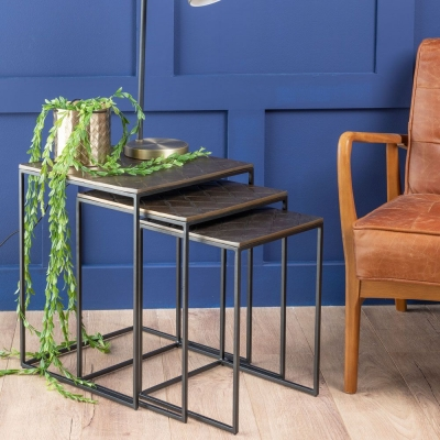 Urban Deco Omnia Black Metal and Hammered Brass Nest of Tables