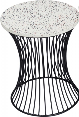 Urban Deco Ritz Black Metal and Trazzo Side Table