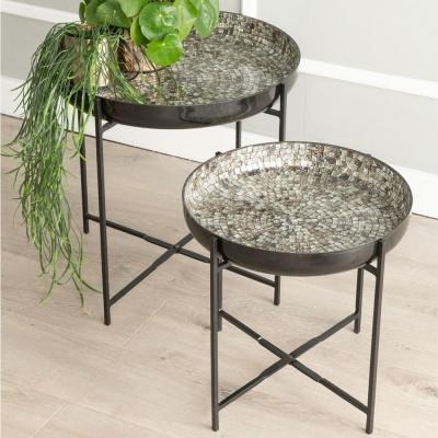 Vista Antique Mosaic 2 Piece Bowl Table -Black Metal Crossbar Stand