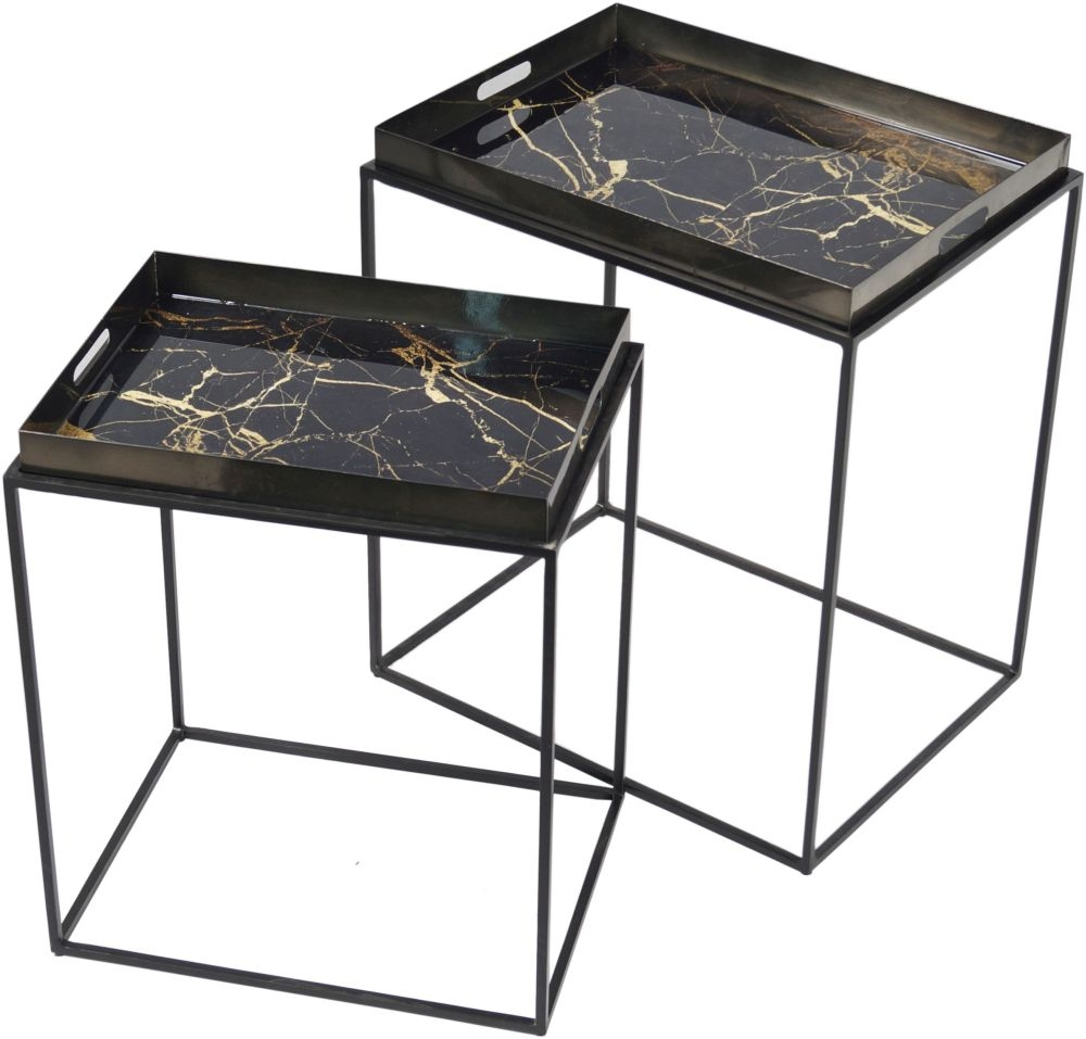 Cool Urban Deco Amara Black Metal And Decal Marbel Effect Nest Of Tray Tables Home Remodeling Inspirations Cosmcuboardxyz