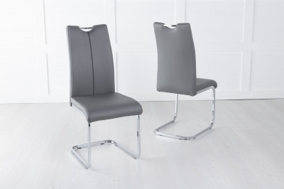 Nikko Dark Grey Faux Leather Dining Chair