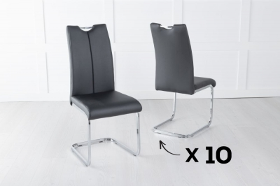 Set of 10 Nikko Black Faux Leather Dining Chair