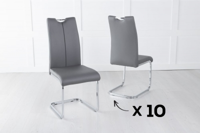 Set of 10 Nikko Grey Faux Leather Dining Chair
