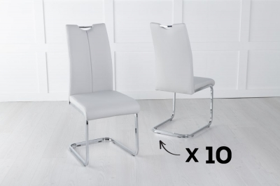 Set of 10 Nikko Light Grey Faux Leather Dining Chair