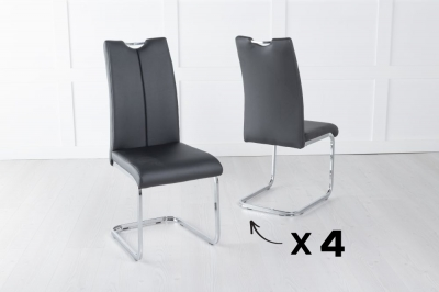 Set of 4 Nikko Black Faux Leather Dining Chair