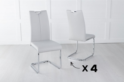 Set of 4 Nikko Light Grey Faux Leather Dining Chair