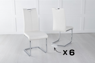Set of 6 Nikko Cream Faux Leather Dining Chair