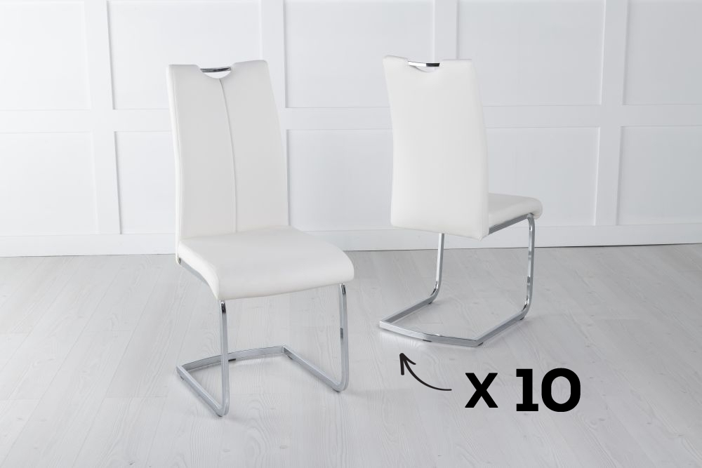 Set of 10 Nikko Cream Faux Leather Dining Chair